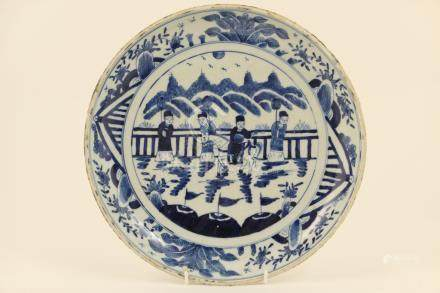 Chinese blue and white dish, late 19th Century,