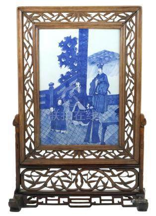 Chinese blue and white plaque, 19th Century,