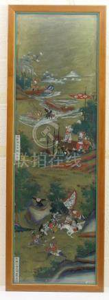 Chinese reverse painting on glass (19th Century), depicting battle scenes with characters,