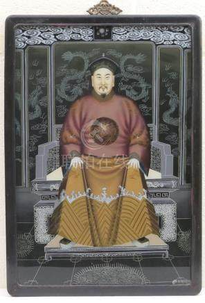 Chinese School (19th Century), Portrait of a dignitary, reverse painting on glass,