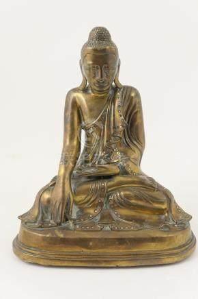 Siamese bronze Buddha, seated in dhyanasana, with left hand in dhyana mudra,