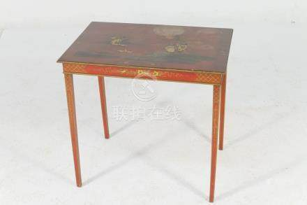 Chinoiserie red lacquered table, early 20th Century,