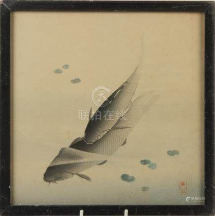 A Japanese painting of carp, circa 1900, signed, 23 x 23cm.
