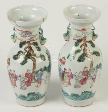 A pair of Chinese famille rose vases, 19th century,
