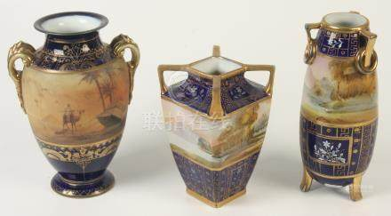 Three Japanese Noritake porcelain vases, two painted with river scenes,