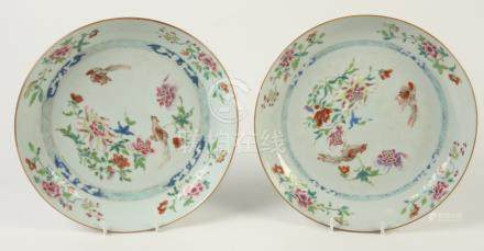 A pair of Chinese famille rose porcelain shallow bowls, 18th century,