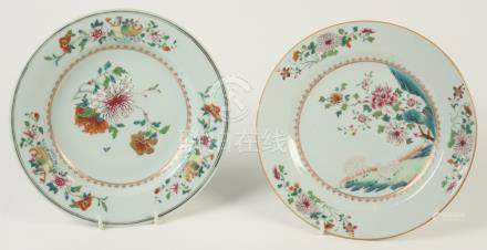 A Chinese porcelain famille rose plate, 18th century, with two sheep beneath a flowering tree,
