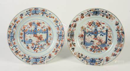 A pair of Chinese Imari porcelain plates, 18th century,