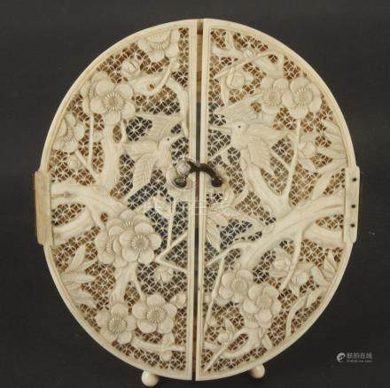 A Chinese ivory photo frame, circa 1900,
