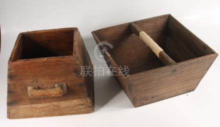 Two Chinese wooden rice carriers.