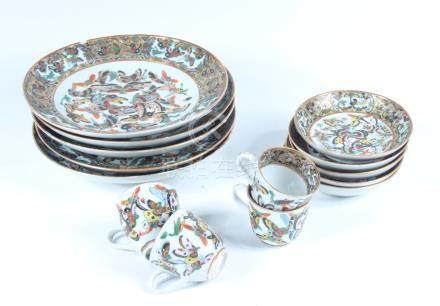 Five Chinese canton plates, late 19th century, diameter 20.