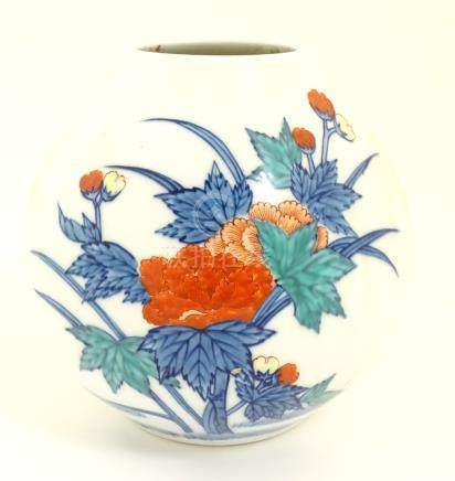 Oriental vase with floral decoration. Oriental mark to base.