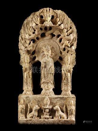 Chinesische Buddha-Gruppe Ca. 100 x 50 cm. Die aus dem chinesischen Kulturraum stammende