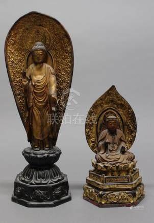 JAPON Période Edo (1600-1868) et Meiji (1868-1912) DEUX SCULPTURES en métal laq