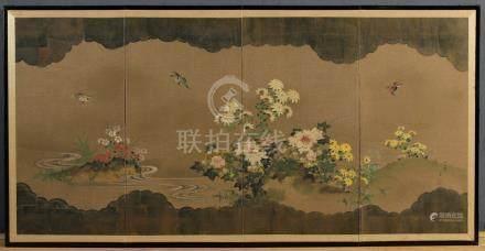 JAPON Période Taisho (1912-1926) PARAVENT A QUATRE FEUILLES à décor peint et à