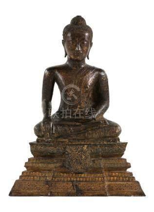 SIAM  Fin du XVIIIème Début XIXème Siècle Important BOUDDHA en bronze avec doru