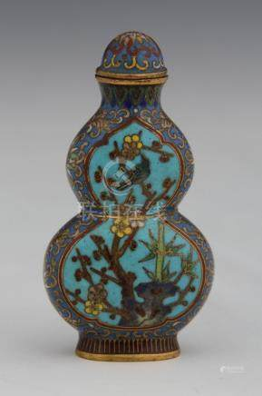 CHINE FLACON TABATIERE en forme de double gourde en bronze et émaux cloisonnés