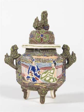 CHINE Vase tripode avec prises dragonH : 24cm