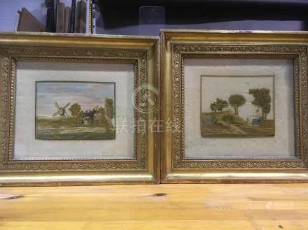 Deux tableaux sur soieJeune femme au chine e tmoulins31 x 27 et 30 x 25 cm