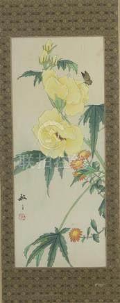 Deux peintures à l'encre et couleursur soie encadréesChine, XXe siècleReprésent