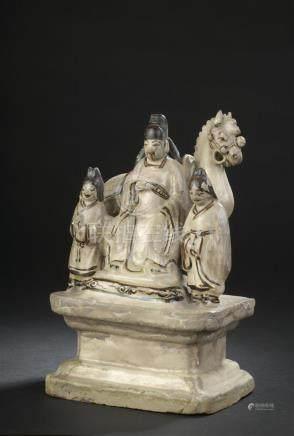 Groupe en grès émaillé Cizhou crème et brunChine, époque Ming, XVIIe siècleRepr