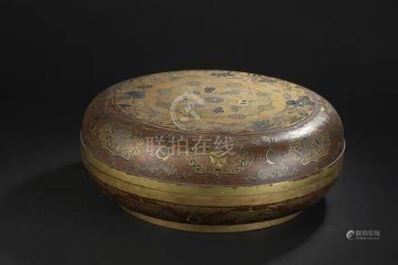 Boîte couverte en laqueChine, époque Qianlong (1736-1795)Circulaire reposant su