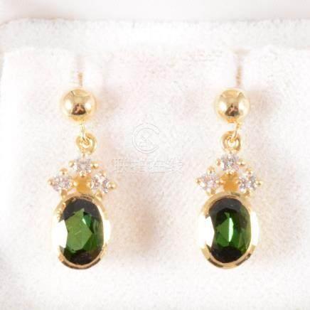 Tom Payne - A pair of tourmaline and diamond drop earrings,