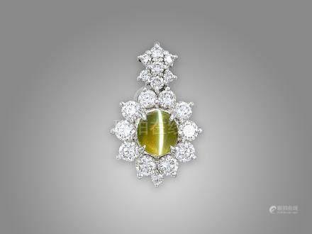 金綠色貓眼石鑽石吊咀鑲鉑金配18K白金頸鍊(2)