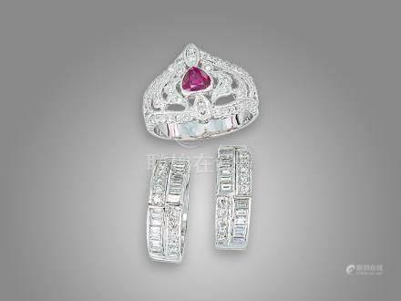 紅寶石鑽石戒指鑲18K白金及鑽石耳環鑲14K白金(3)