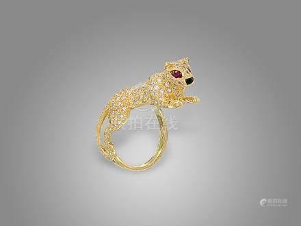 鑽石「豹」戒指鑲18K黃金