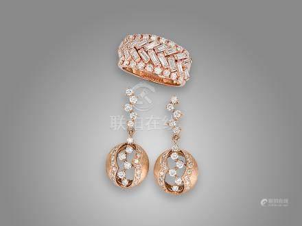 鑽石戒指及鑽石耳環鑲18K玫瑰金(3)