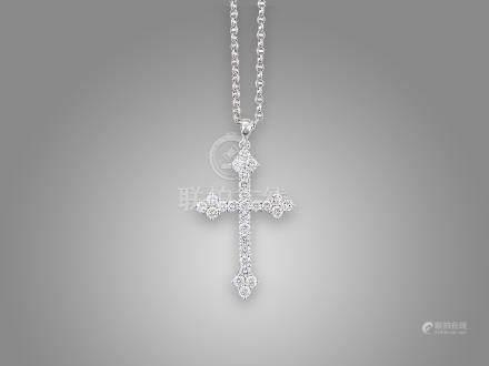 鑽石十字架吊咀鑲18K白金配18K白金頸鍊(2)