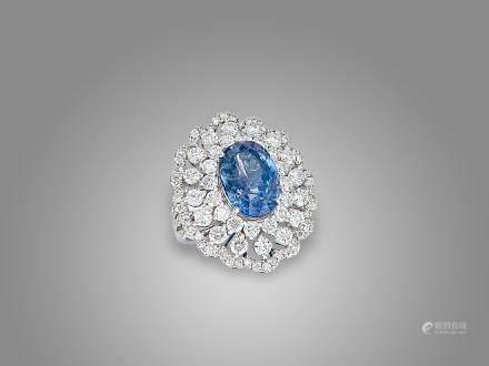 藍寶石鑽石戒指鑲18K白金