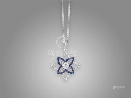 藍寶石鑽石吊咀鑲18K白金配鑲18K白金頸鍊(2)