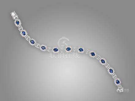藍寶石鑽石手鍊鑲18K白金