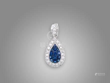 藍寶石鑽石吊咀鑲18K白金配18K白金頸鍊(2)