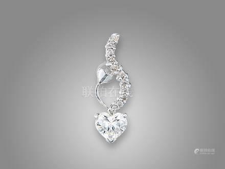 心形鑽石配鑽石吊咀鑲18K白金