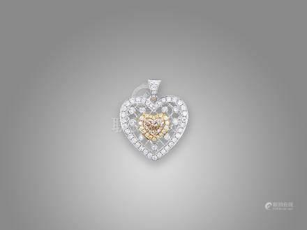 彩鑽配鑽石吊咀鑲18K三色金