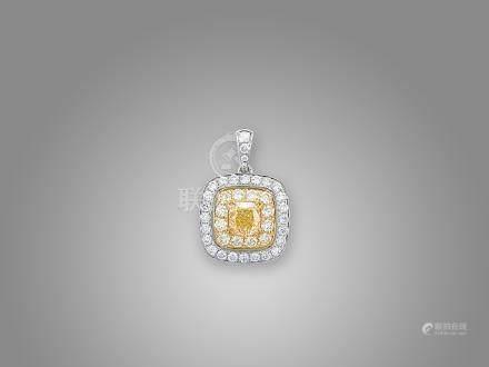 黃鑽配鑽石吊咀鑲18K黃白金