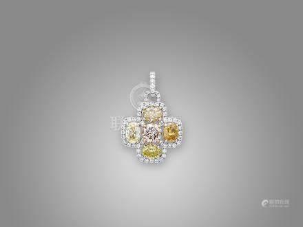 彩鑽配鑽石吊咀鑲18K黃白金