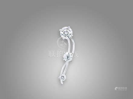 鑽石耳環鑲18K白金一隻