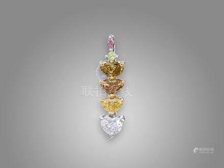 彩鑽配鑽石吊咀鑲鉑金