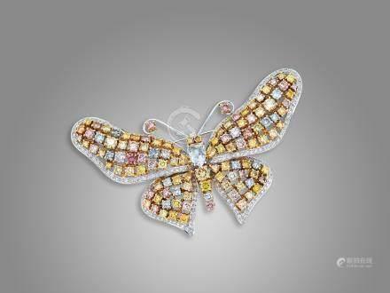 彩鑽配鑽石襟針鑲18K黃白金