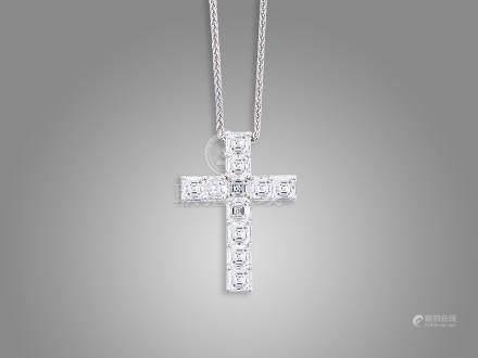 鑽石吊咀鑲18K白金配18K白金頸鍊(2)