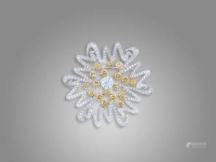 鑽石襟針或吊咀鑲18K白金配18K白金頸鍊(2)