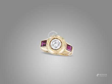 鑽石紅寶石戒指鑲18K黃金