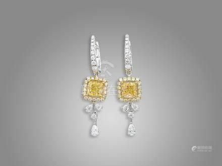 黃鑽配鑽石耳環鑲18K黃白金(2)