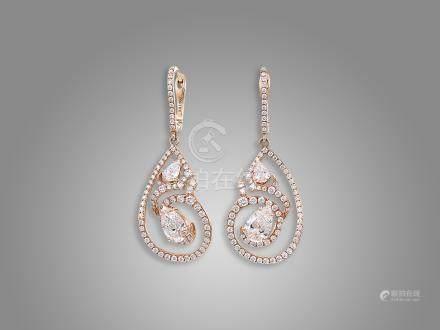 鑽石耳環鑲18K玫瑰金(2)