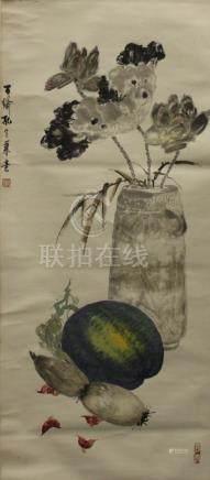 孔子瑜 花卉 立軸