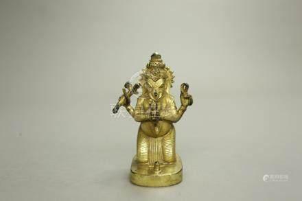 銅鎏金大力神像
